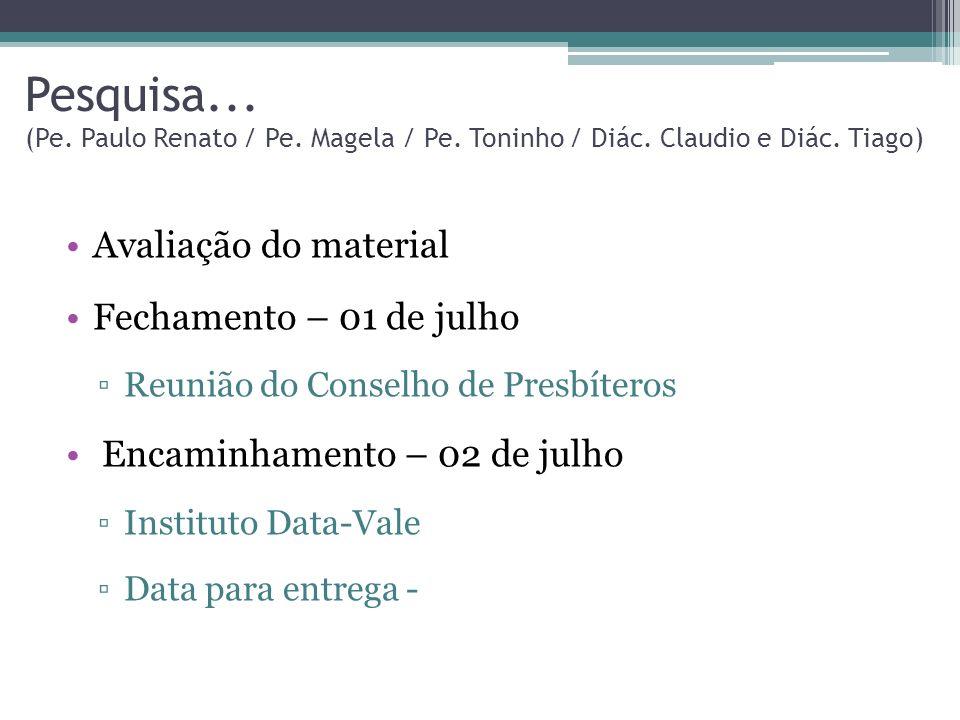 Pesquisa. (Pe. Paulo Renato / Pe. Magela / Pe. Toninho / Diác