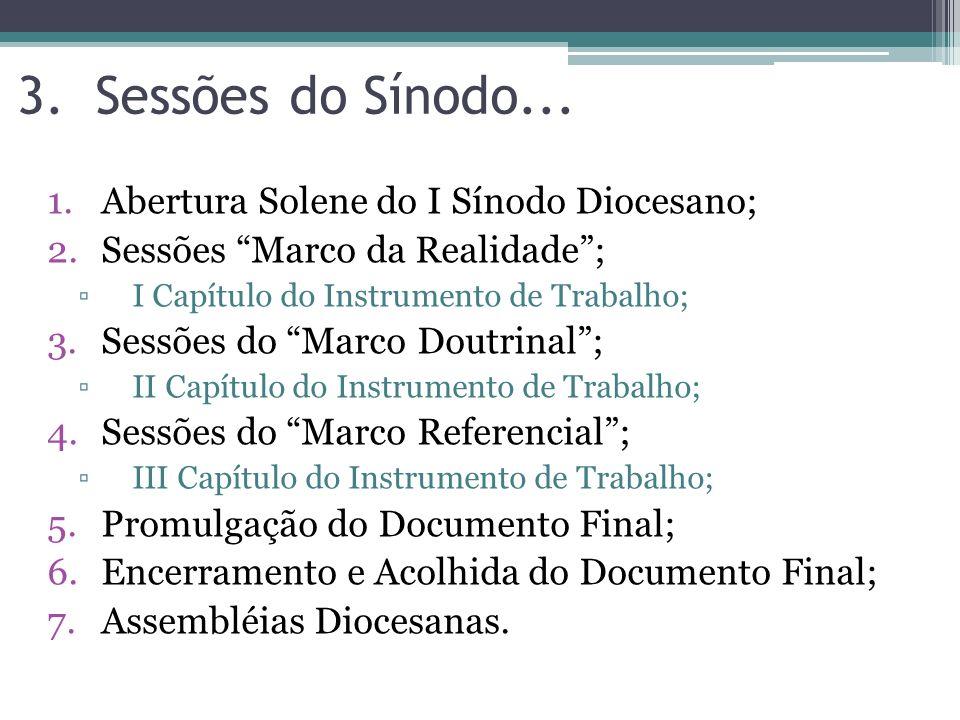 Sessões do Sínodo... Abertura Solene do I Sínodo Diocesano;