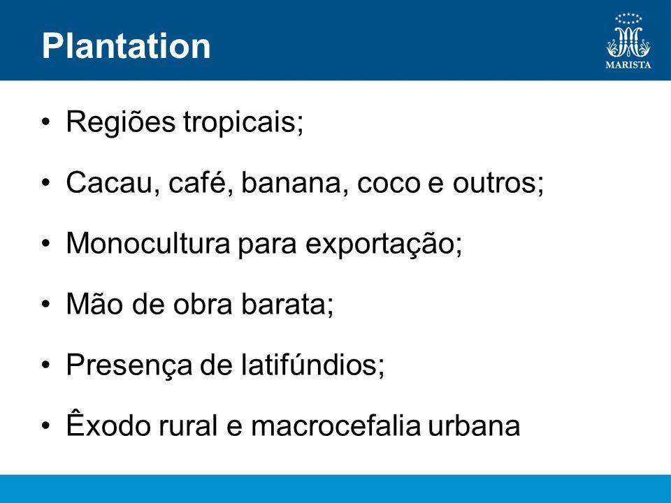 Plantation Regiões tropicais; Cacau, café, banana, coco e outros;