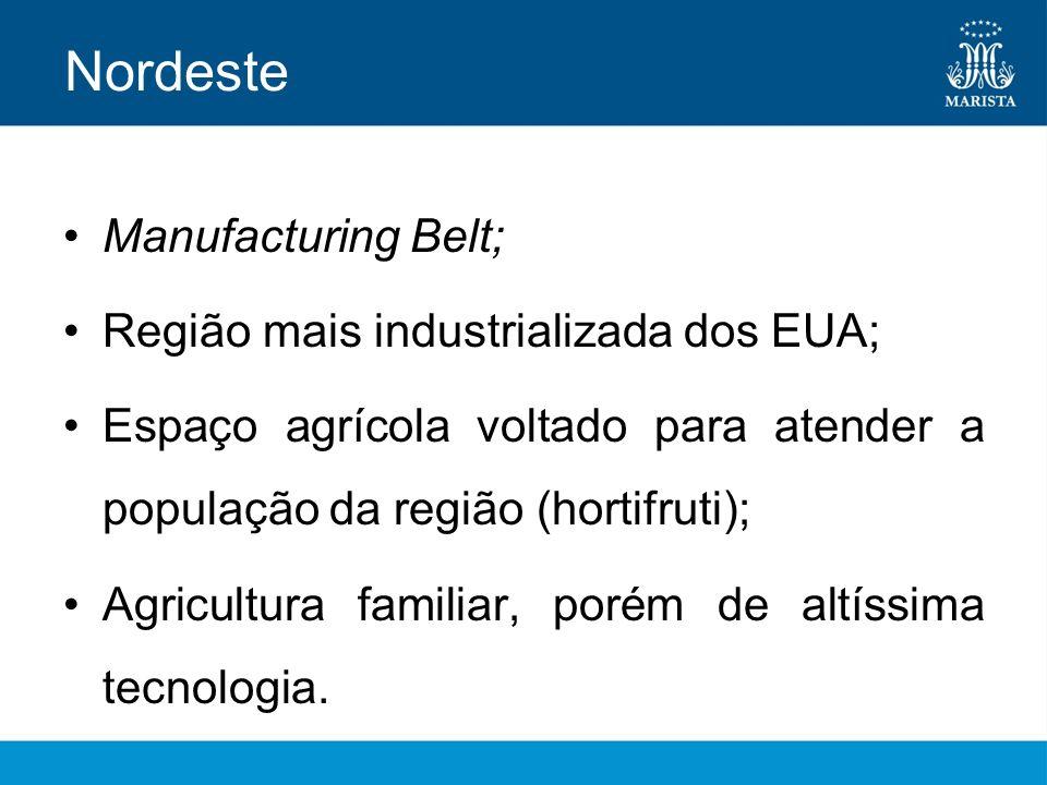 Nordeste Manufacturing Belt; Região mais industrializada dos EUA;