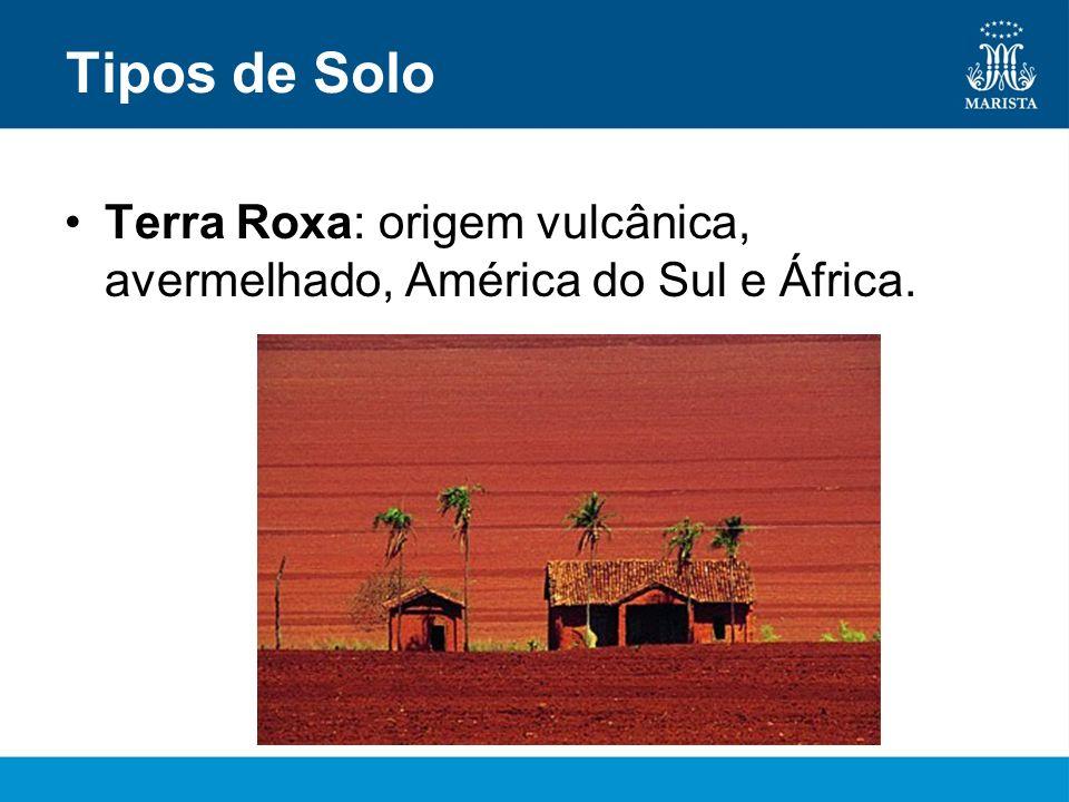 Tipos de Solo Terra Roxa: origem vulcânica, avermelhado, América do Sul e África.