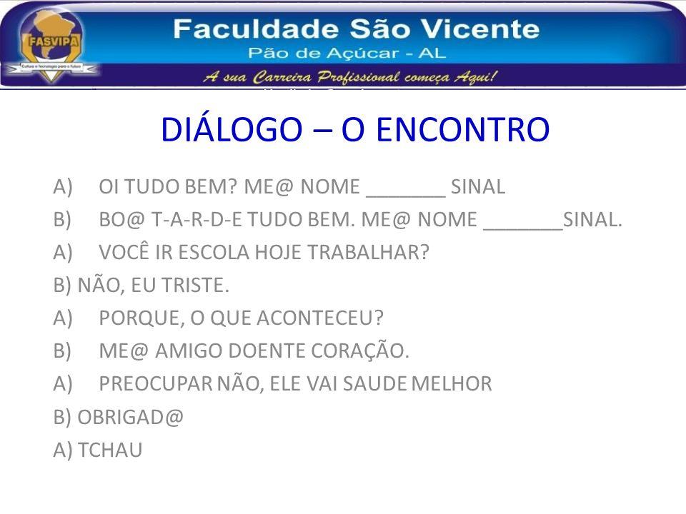 DIÁLOGO – O ENCONTRO OI TUDO BEM ME@ NOME _______ SINAL