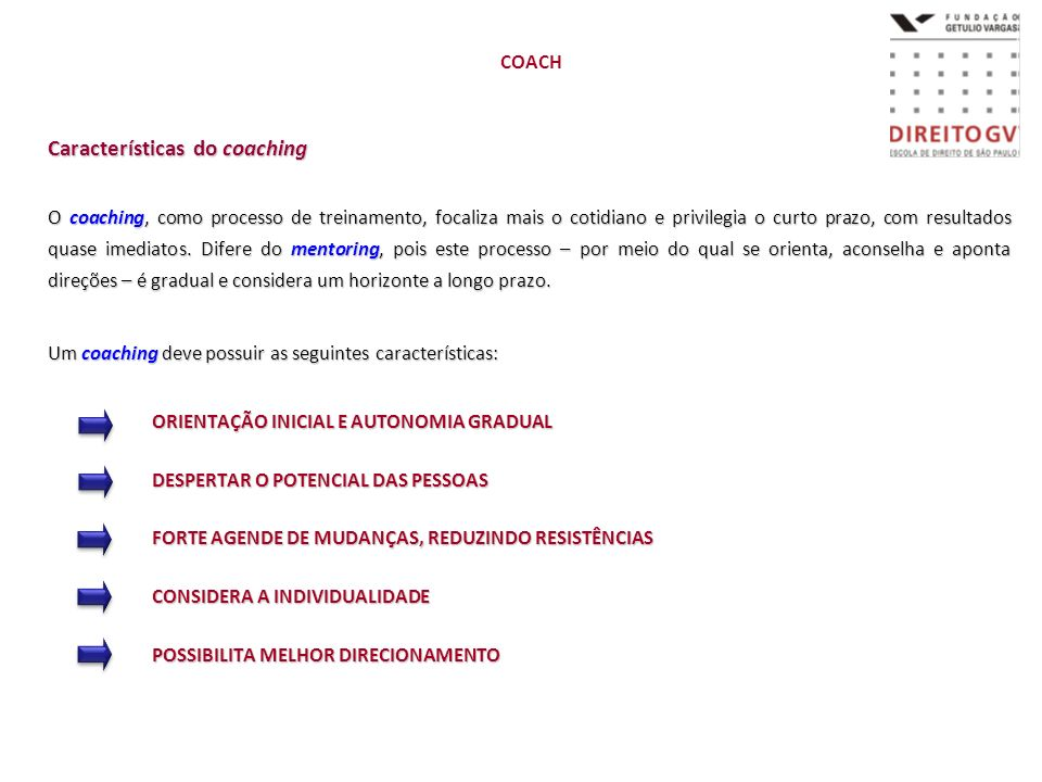 Características do coaching