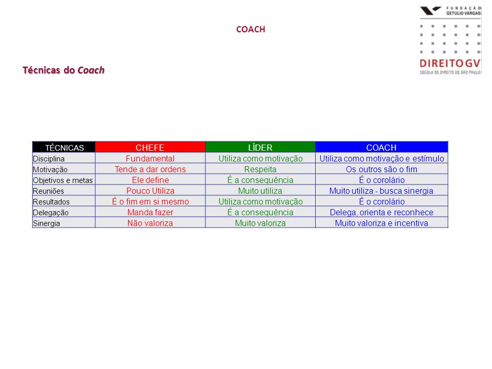 Técnicas do Coach COACH CHEFE LÍDER COACH Fundamental