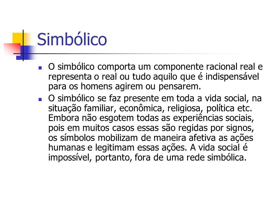SimbólicoO simbólico comporta um componente racional real e representa o real ou tudo aquilo que é indispensável para os homens agirem ou pensarem.