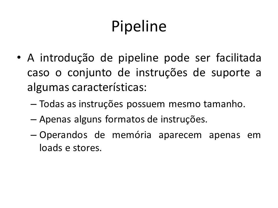 Pipeline A introdução de pipeline pode ser facilitada caso o conjunto de instruções de suporte a algumas características: