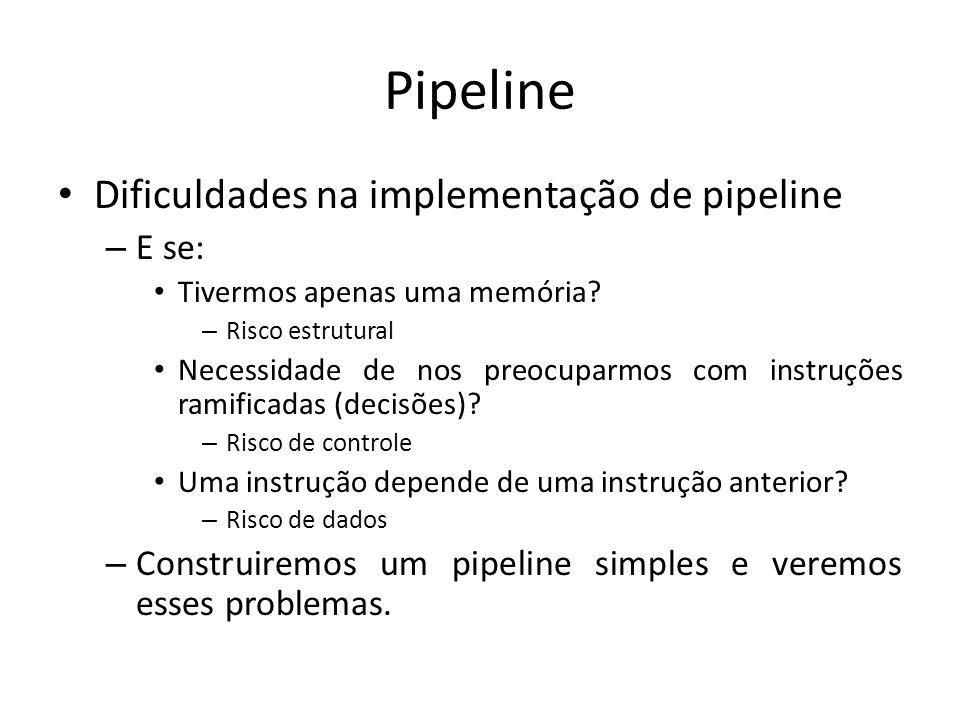 Pipeline Dificuldades na implementação de pipeline E se: