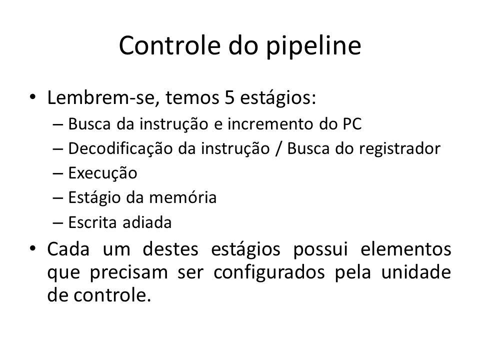 Controle do pipeline Lembrem-se, temos 5 estágios: