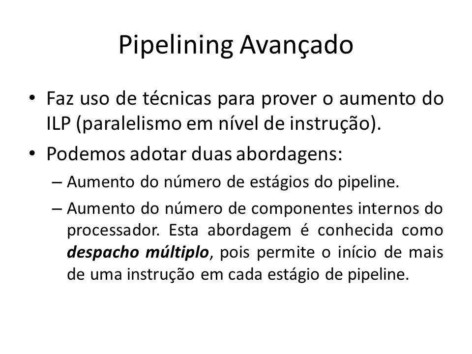 Pipelining Avançado Faz uso de técnicas para prover o aumento do ILP (paralelismo em nível de instrução).
