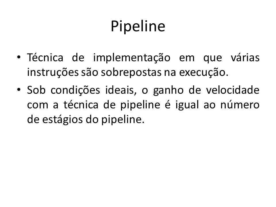 Pipeline Técnica de implementação em que várias instruções são sobrepostas na execução.