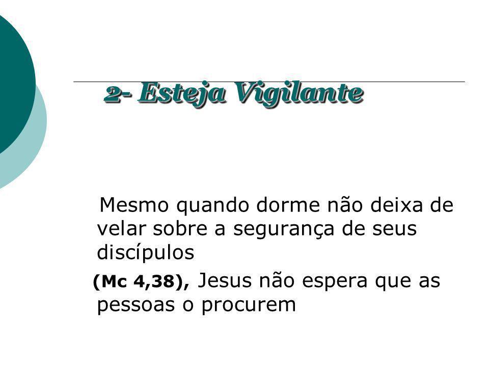 2- Esteja VigilanteMesmo quando dorme não deixa de velar sobre a segurança de seus discípulos.