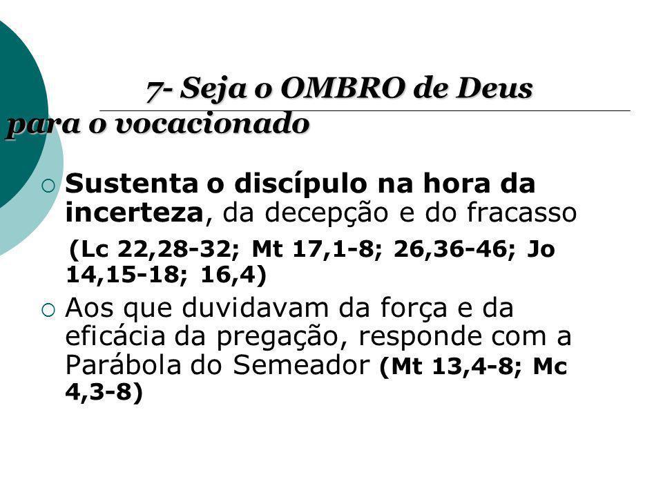 7- Seja o OMBRO de Deus para o vocacionado