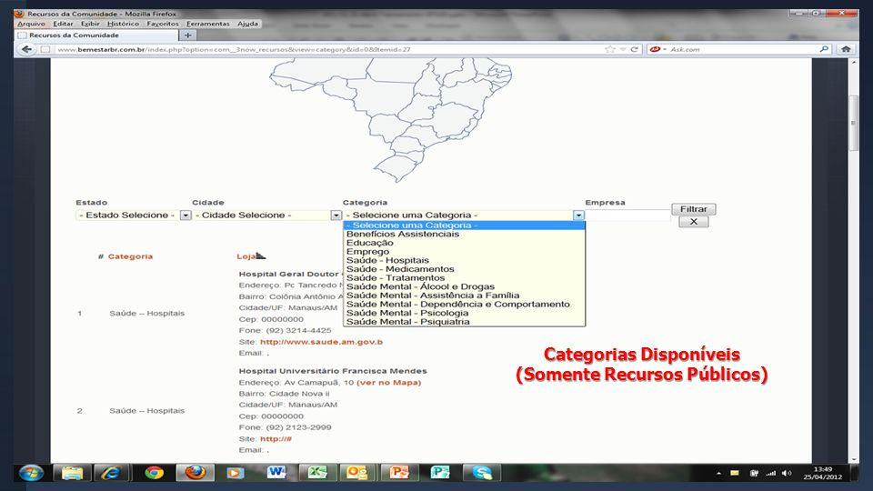 Categorias Disponíveis (Somente Recursos Públicos)