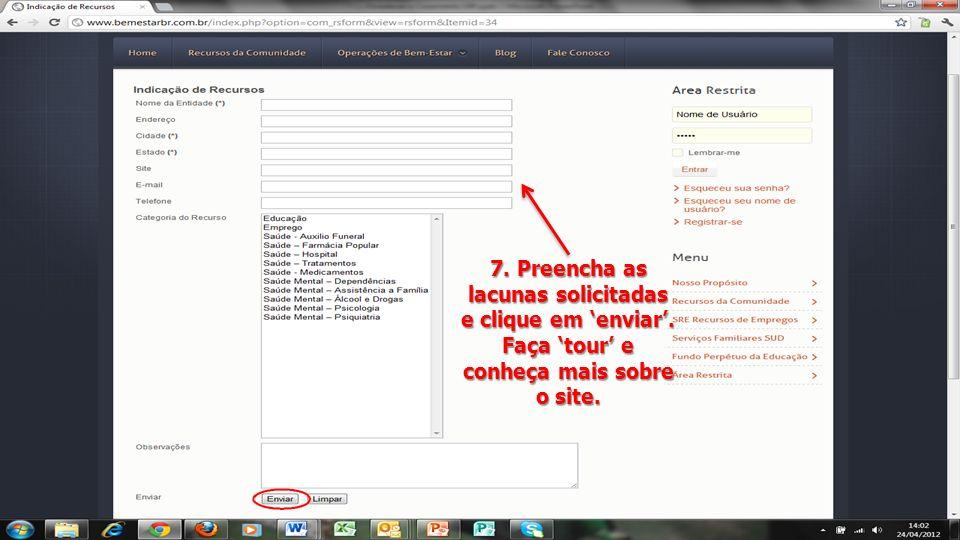 7. Preencha as lacunas solicitadas e clique em 'enviar'.
