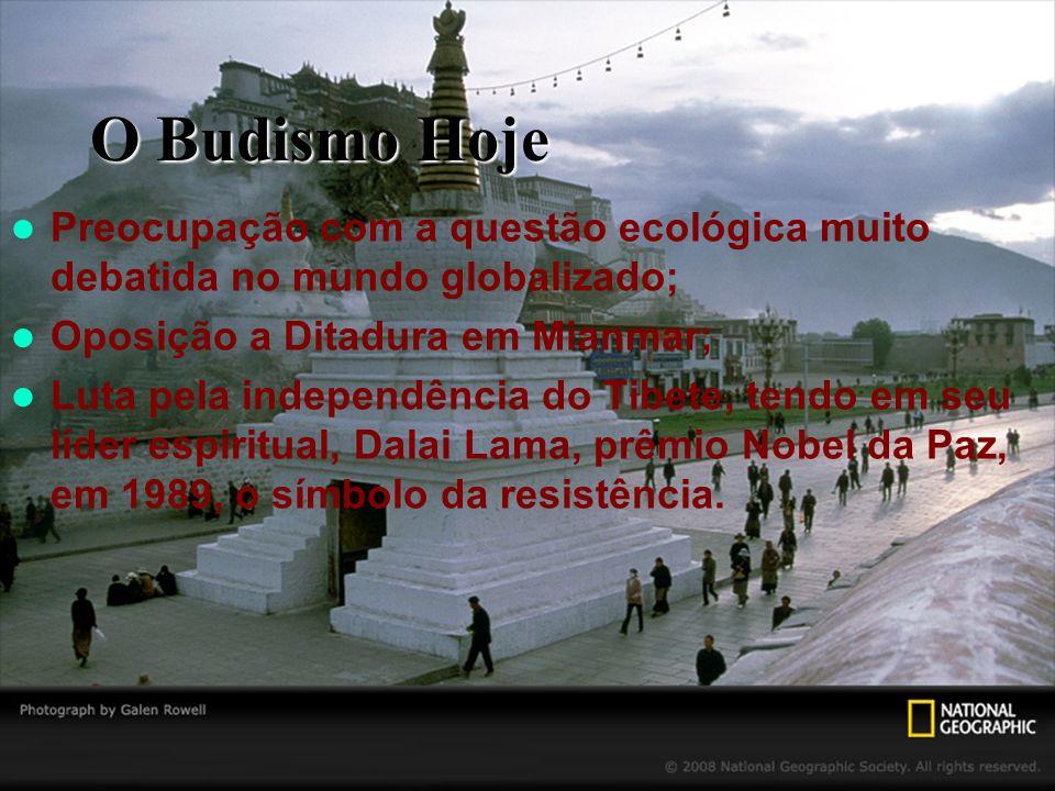O Budismo Hoje Preocupação com a questão ecológica muito debatida no mundo globalizado; Oposição a Ditadura em Mianmar;