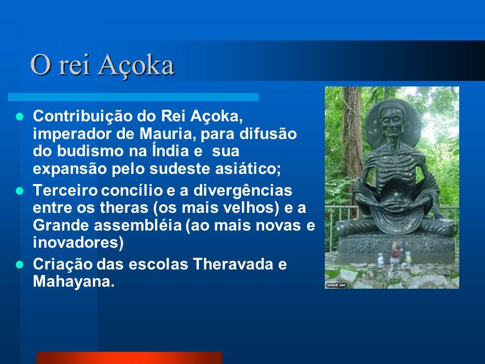 O rei Açoka Contribuição do Rei Açoka, imperador de Mauria, para difusão do budismo na Índia e sua expansão pelo sudeste asiático;