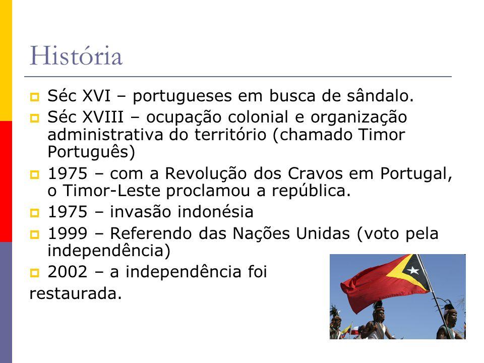 História Séc XVI – portugueses em busca de sândalo.