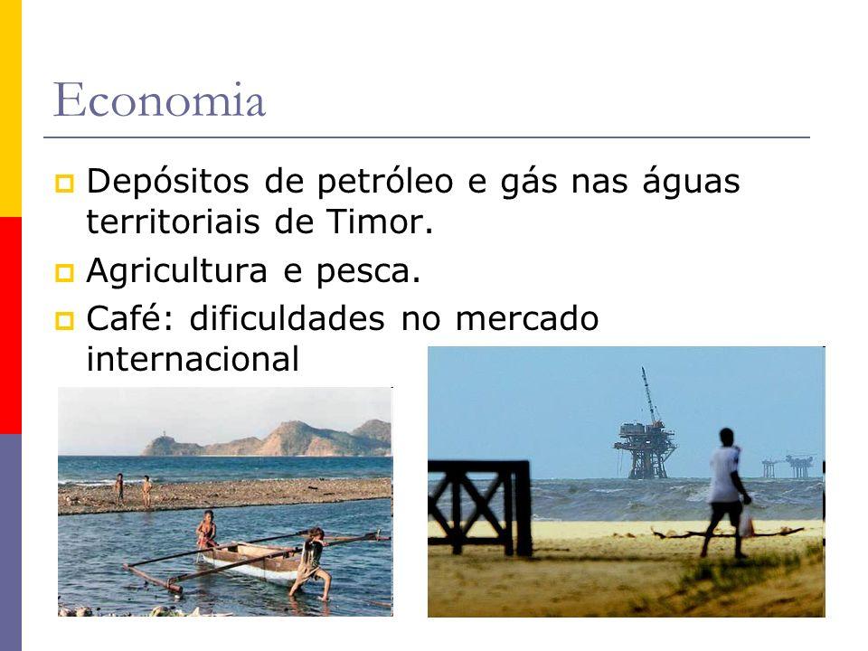 Economia Depósitos de petróleo e gás nas águas territoriais de Timor.