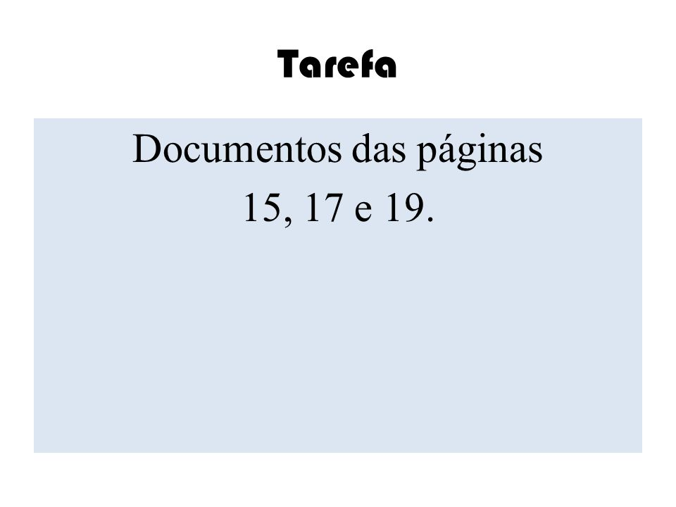 Documentos das páginas 15, 17 e 19.