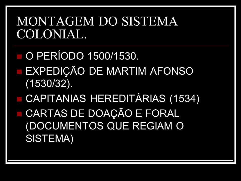 MONTAGEM DO SISTEMA COLONIAL.