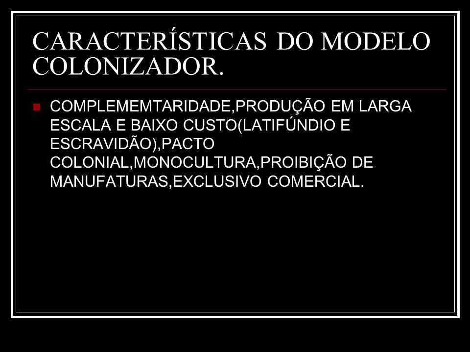 CARACTERÍSTICAS DO MODELO COLONIZADOR.