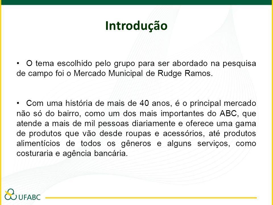 IntroduçãoO tema escolhido pelo grupo para ser abordado na pesquisa de campo foi o Mercado Municipal de Rudge Ramos.