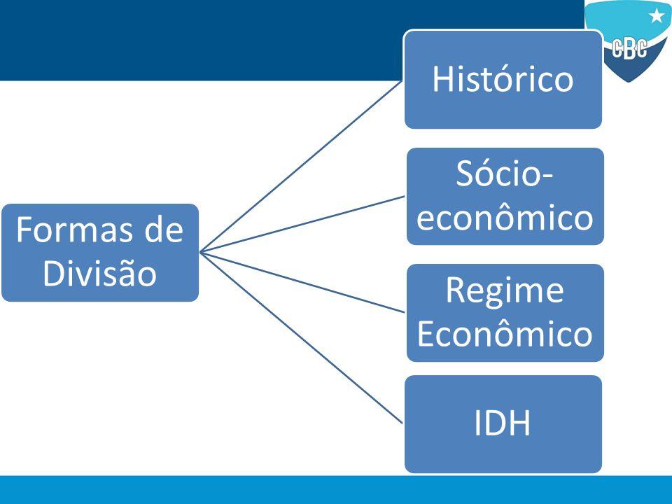 Formas de Divisão Histórico Sócio-econômico Regime Econômico IDH