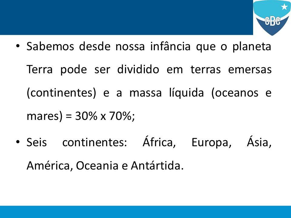 Sabemos desde nossa infância que o planeta Terra pode ser dividido em terras emersas (continentes) e a massa líquida (oceanos e mares) = 30% x 70%;