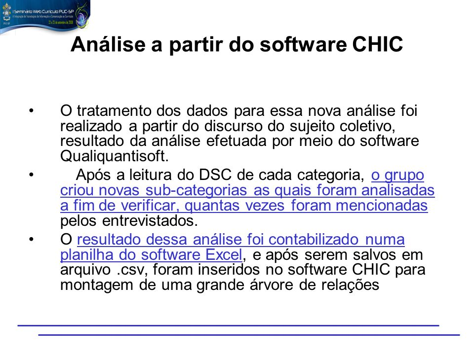 Análise a partir do software CHIC