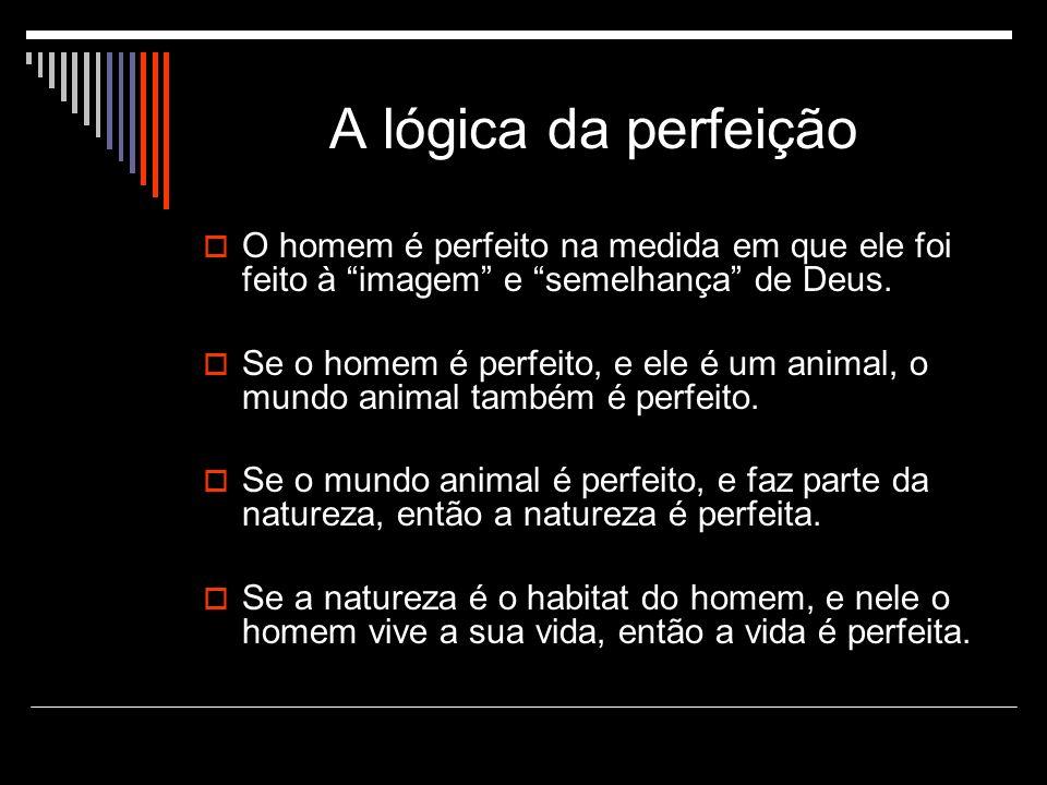 A lógica da perfeição O homem é perfeito na medida em que ele foi feito à imagem e semelhança de Deus.