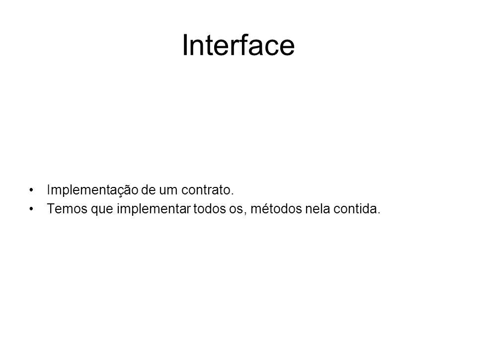 Interface Implementação de um contrato.