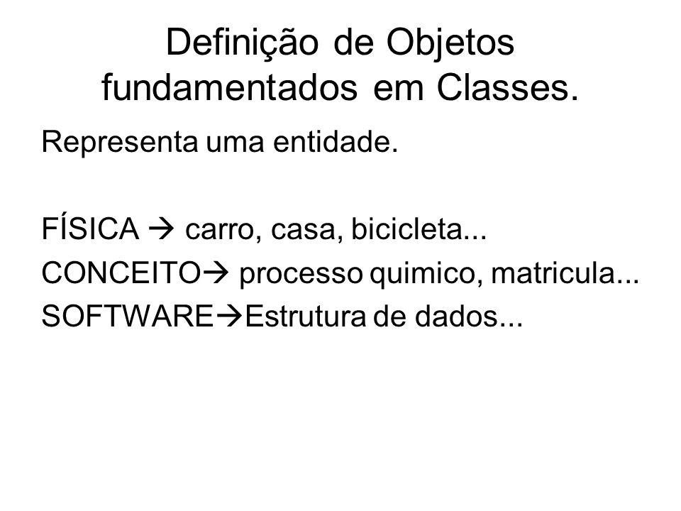Definição de Objetos fundamentados em Classes.