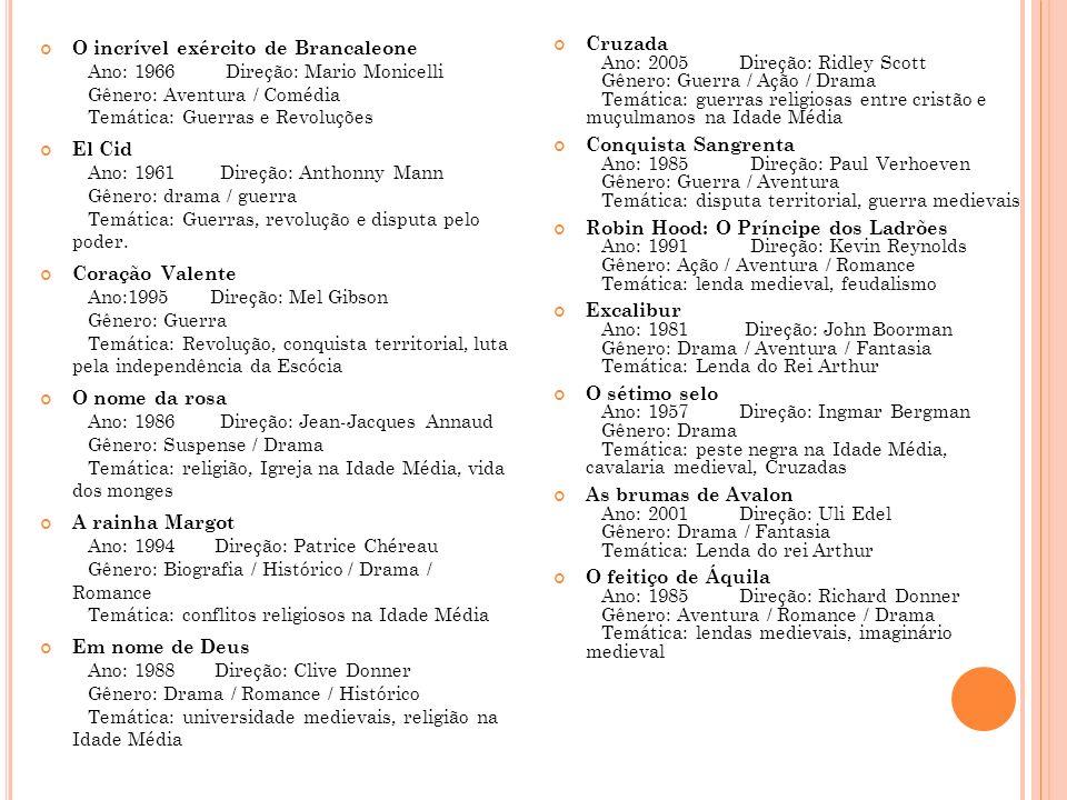 O incrível exército de Brancaleone Ano: 1966 Direção: Mario Monicelli Gênero: Aventura / Comédia Temática: Guerras e Revoluções