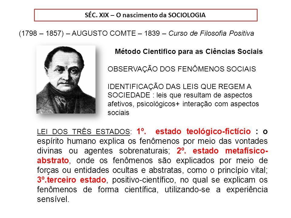 SÉC. XIX – O nascimento da SOCIOLOGIA
