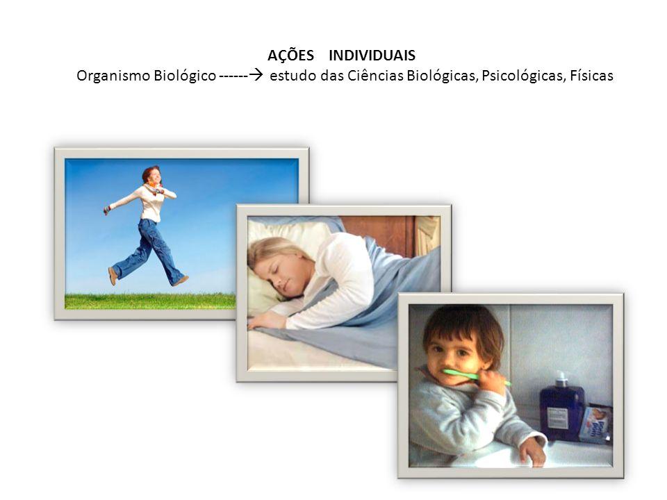 AÇÕES INDIVIDUAIS Organismo Biológico ------ estudo das Ciências Biológicas, Psicológicas, Físicas.