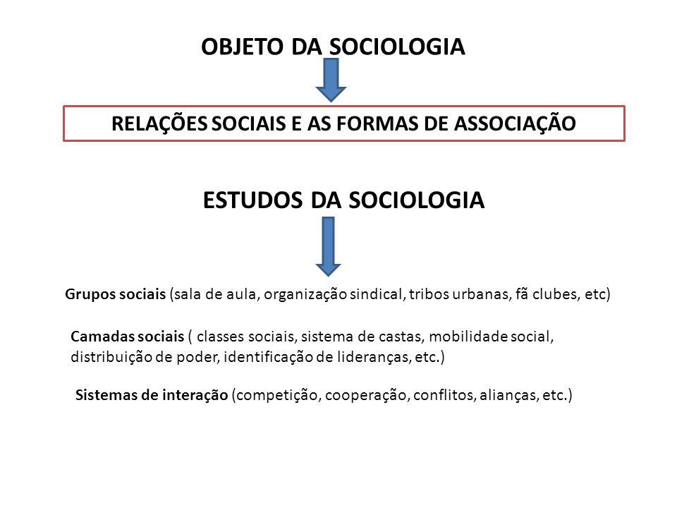 RELAÇÕES SOCIAIS E AS FORMAS DE ASSOCIAÇÃO