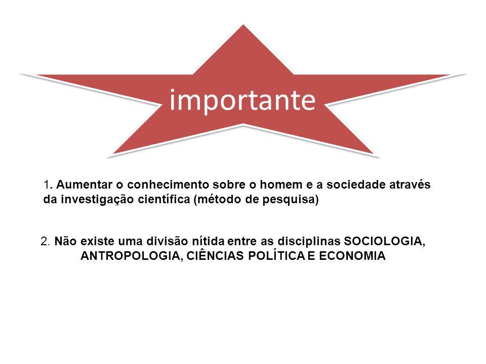 importante 1. Aumentar o conhecimento sobre o homem e a sociedade através da investigação científica (método de pesquisa)