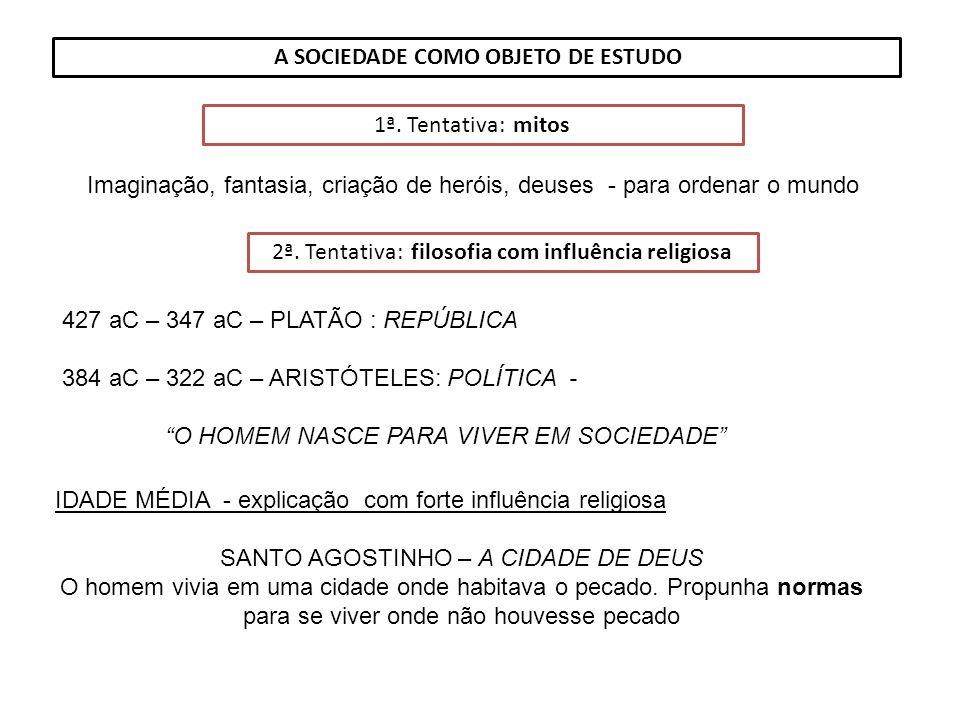 A SOCIEDADE COMO OBJETO DE ESTUDO