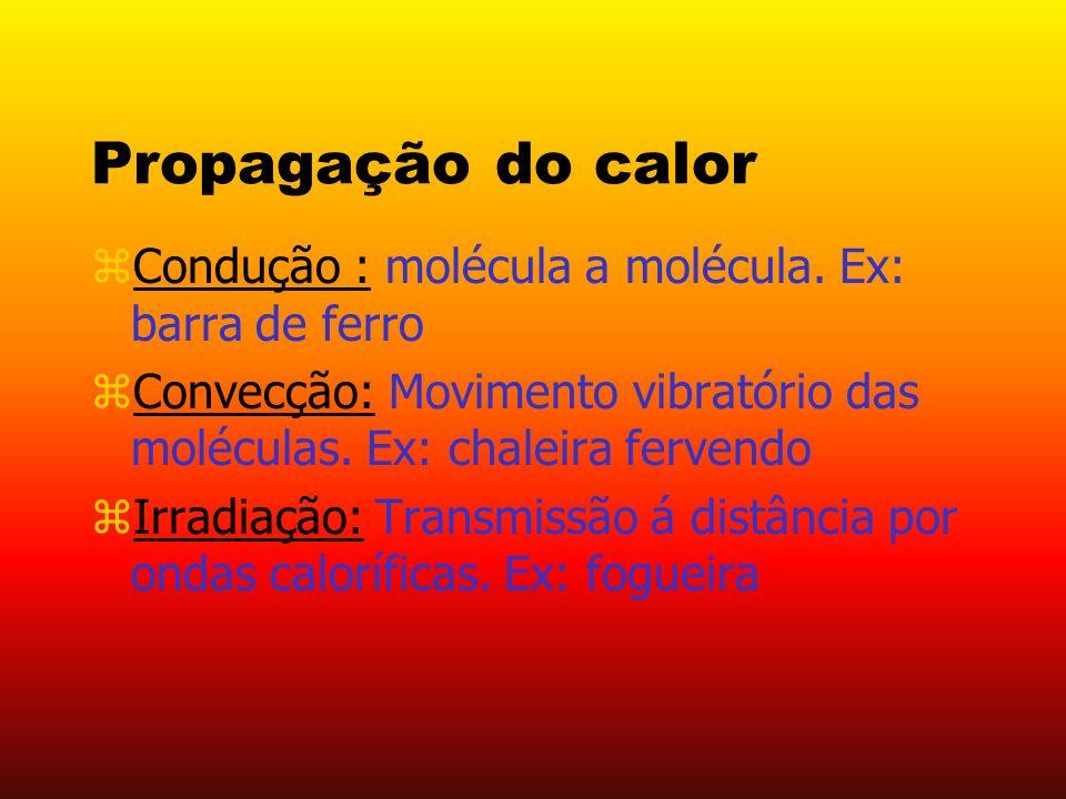 Propagação do calor Condução : molécula a molécula. Ex: barra de ferro