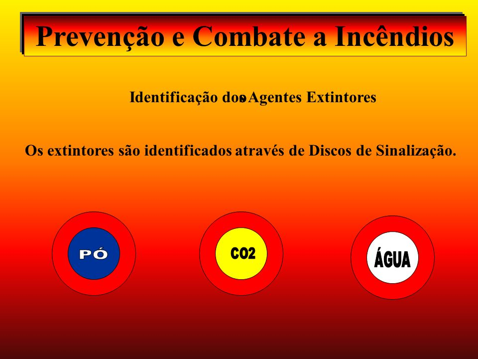 Prevenção e Combate a Incêndios Identificação dos Agentes Extintores