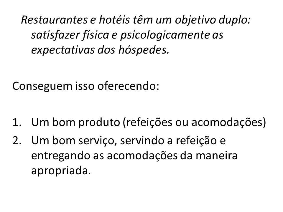 Restaurantes e hotéis têm um objetivo duplo: satisfazer física e psicologicamente as expectativas dos hóspedes.