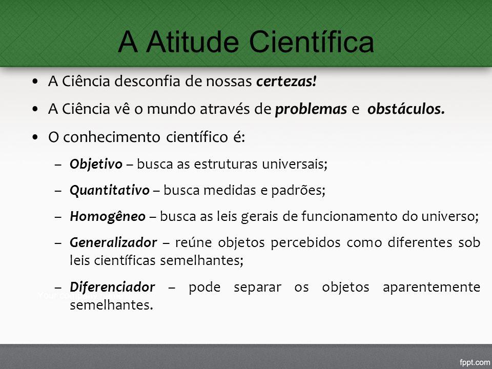 A Atitude Científica A Ciência desconfia de nossas certezas!
