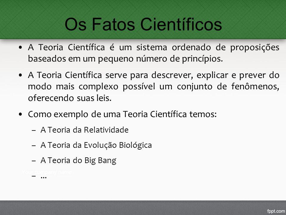 Os Fatos Científicos A Teoria Científica é um sistema ordenado de proposições baseados em um pequeno número de princípios.