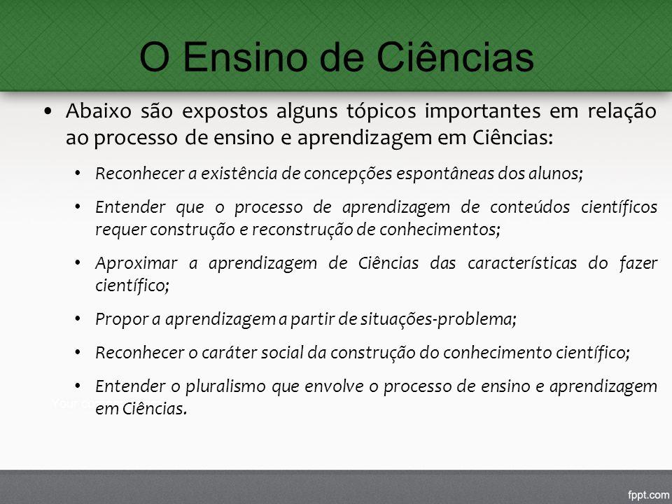 O Ensino de Ciências Abaixo são expostos alguns tópicos importantes em relação ao processo de ensino e aprendizagem em Ciências: