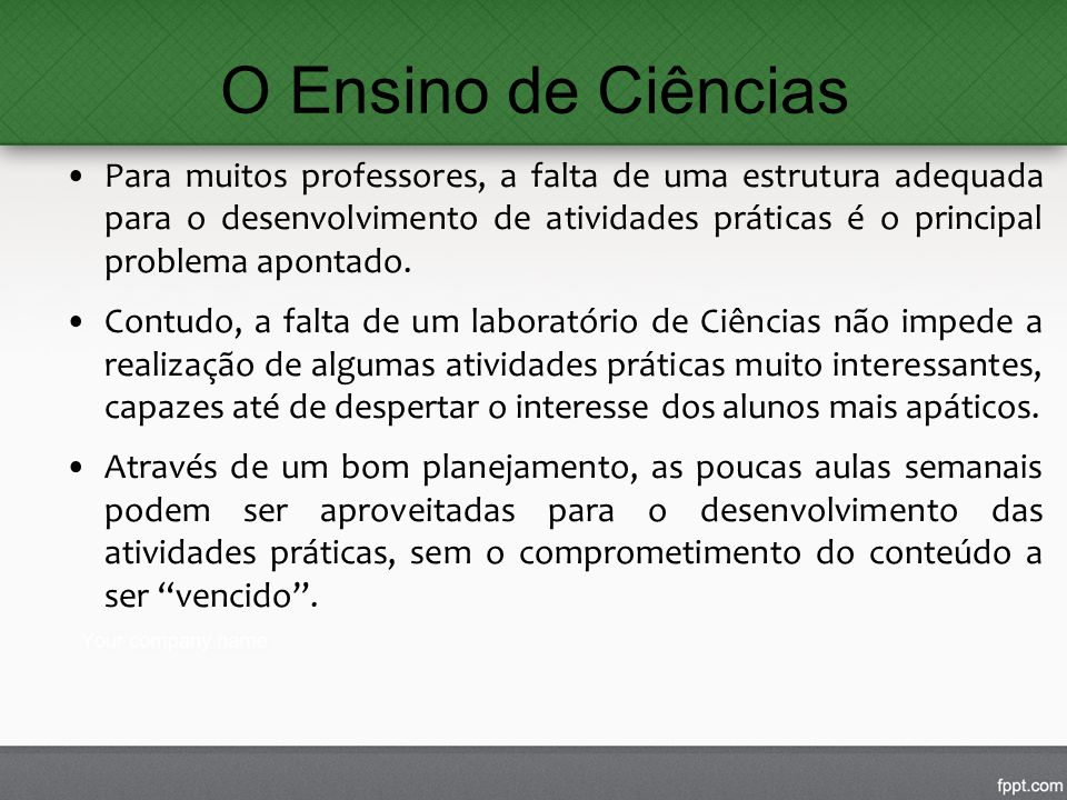 O Ensino de Ciências