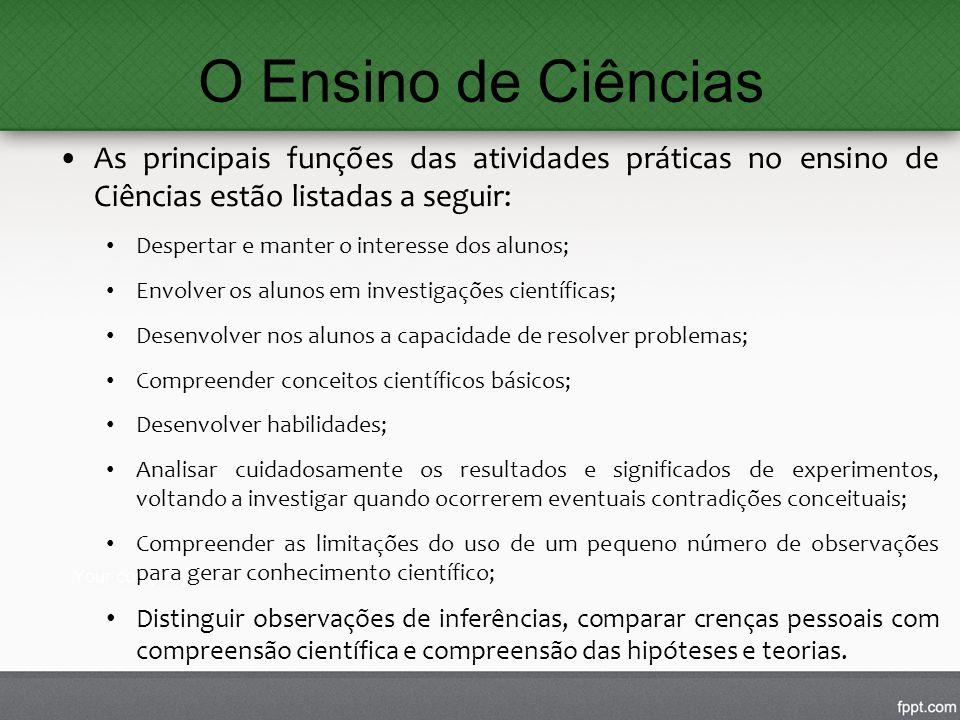 O Ensino de Ciências As principais funções das atividades práticas no ensino de Ciências estão listadas a seguir: