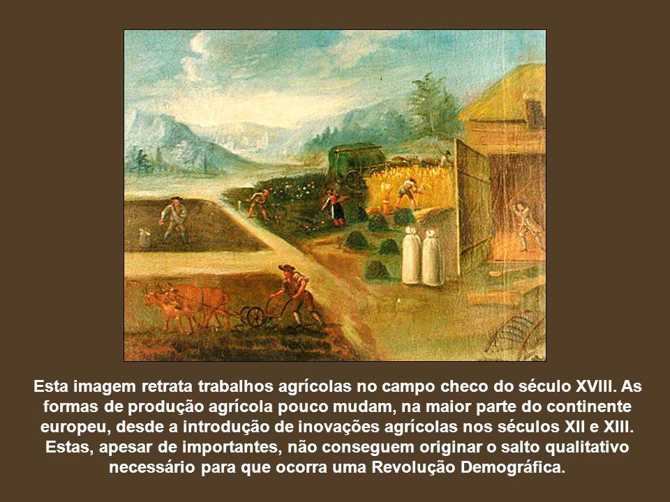 Esta imagem retrata trabalhos agrícolas no campo checo do século XVIII