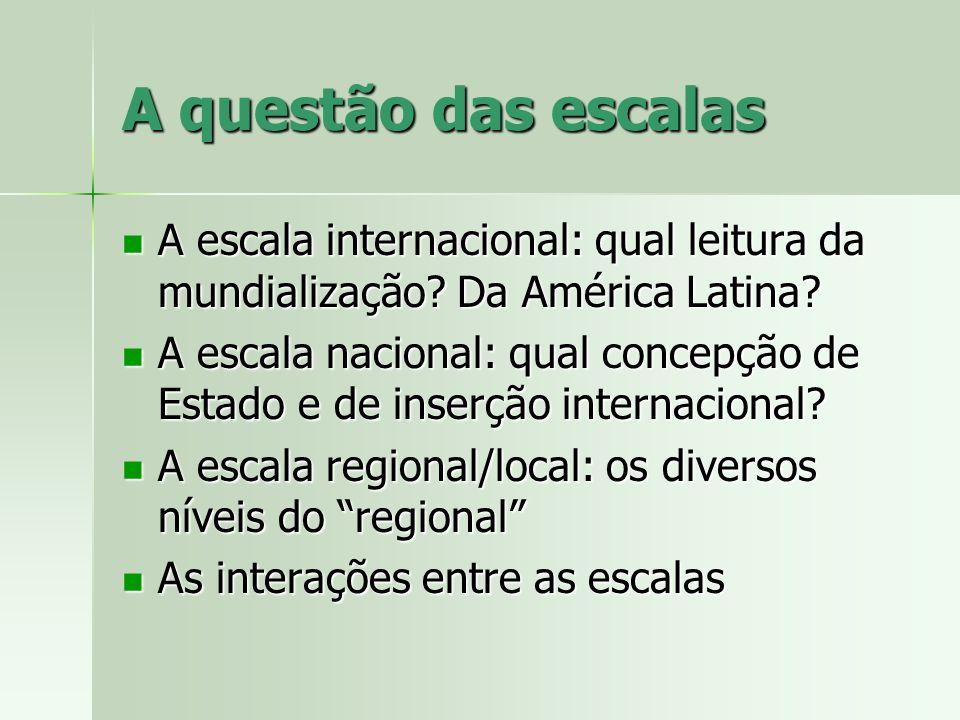 A questão das escalas A escala internacional: qual leitura da mundialização Da América Latina