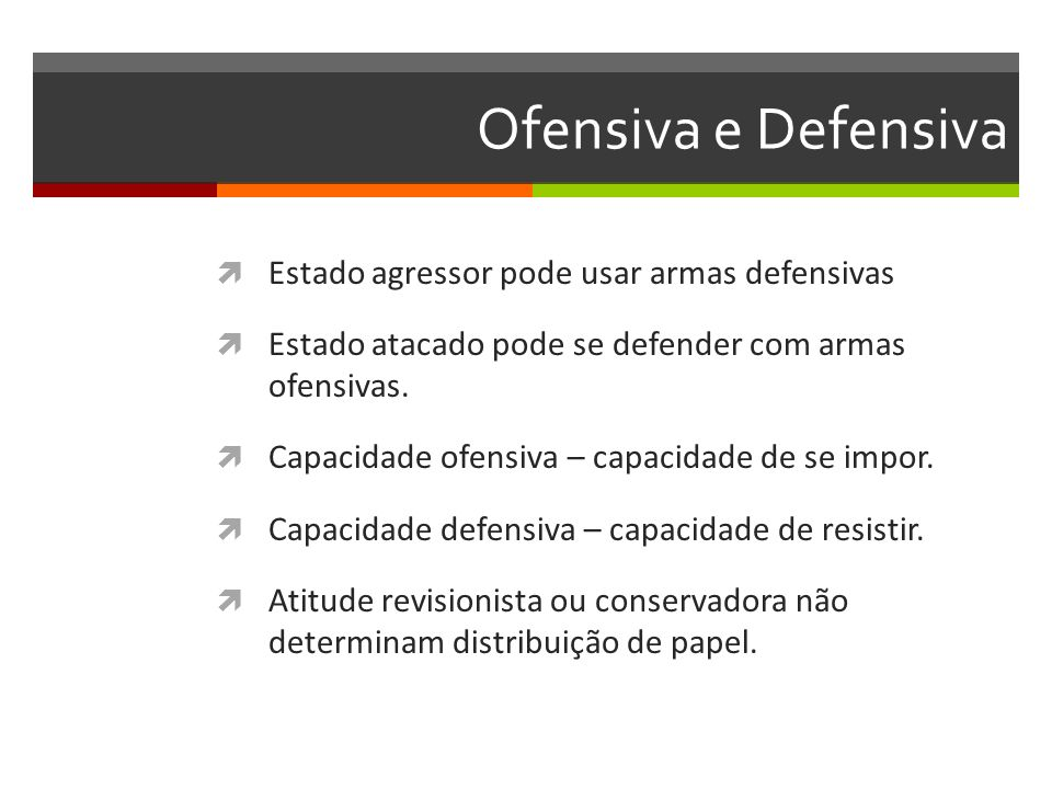 Ofensiva e Defensiva Estado agressor pode usar armas defensivas
