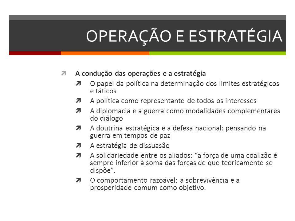 OPERAÇÃO E ESTRATÉGIA A condução das operações e a estratégia